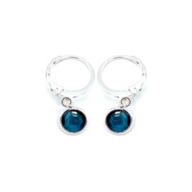 Oorringetjes zilver 'Crystal Glass' in blue zircon