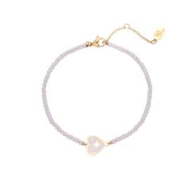 Stainless steel armbandje met kraaltjes in lichtroos | Heart