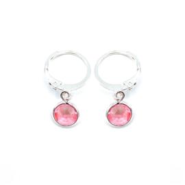 Oorringetjes zilver 'Crystal Glass' in light rose