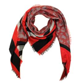 Sjaal met streep- en luipaardprint in rood/grijs/zwart