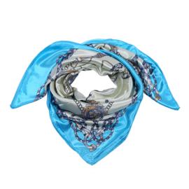 Sjaal met koetsprint in ecru/turquoise/grijs