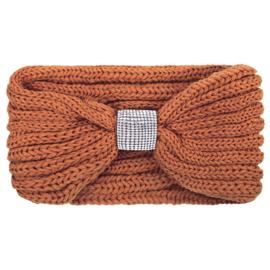 Haarband met strass in cognac