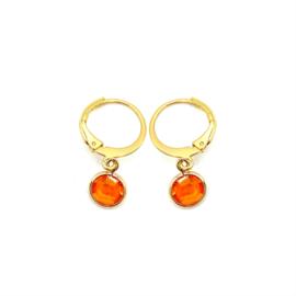 Oorringetjes goud 'Crystal Glass' in sun orange