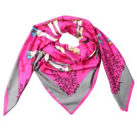 Sjaal met giraffenprint in fuchsia