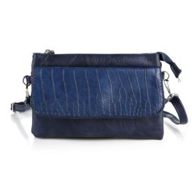 Handtas met crocodesign in donkerblauw
