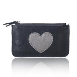 Portemonnee met hartje in zwart/grijs