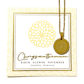 Stainless steel halsketting in goud | Birth Flower | NOVEMBER