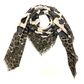 Sjaal met luipaardprint in bruin/ecru/donkerblauw