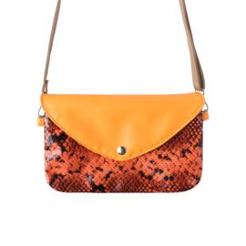 Handtas met slangenprint in oranje
