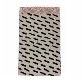 Cadeauzakje met strepen in wit/zwart | 12x19cm | 5 stuks
