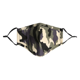 Mondmasker met camouflageprint kaki/beige/zwart