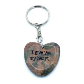 Sleutelhanger met gelukshartje | I GIVE YOU MY HEART...