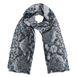 Zachte wintersjaal met slangprint grijs/zwart