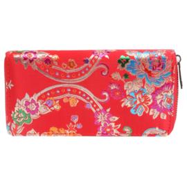 Portemonnee met bloemenprint in rood