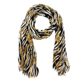 Sjaal met zebra- en kettingprint in wit/zwart/oker