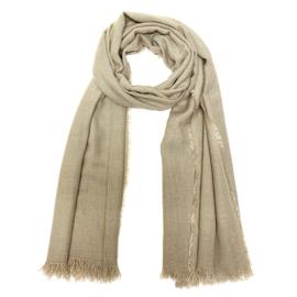 Zachte wintersjaal met lurex in beige