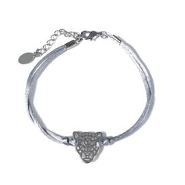 Armbandje met satijnkoord in grijs/zilverkleur | Luipaard