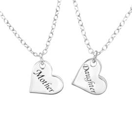 925 zilver halskettingen | Mother & Daughter | Two Hearts | 2 stuks