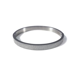 Stainless steel bangle in zilver | Glitter Big