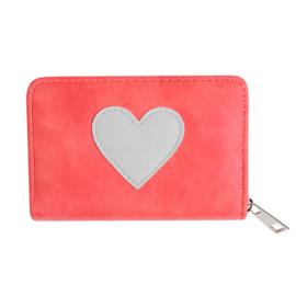 Portemonnee met hartje in rood/lichtgrijs