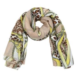 Sjaal met ketting- en riemprint in beige/geel