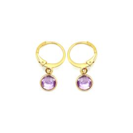 Oorringetjes goud 'Crystal Glass' in violet purple