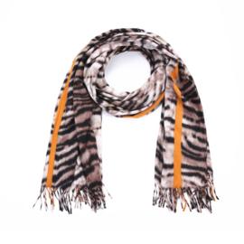 Zachte wintersjaal met tijgerprint en streep in taupe/zwart/oker