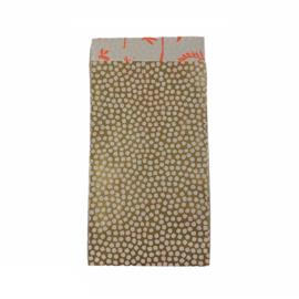 Cadeauzakje met bolletjes in goud/wit | 7x13cm | 5 stuks