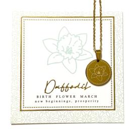 Stainless steel halsketting in goud | Birth Flower | MAART