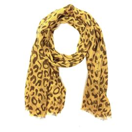 Sjaal met luipaardprint in oker/bruin