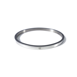 Stainless steel bangle in zilver | Good Luck Small
