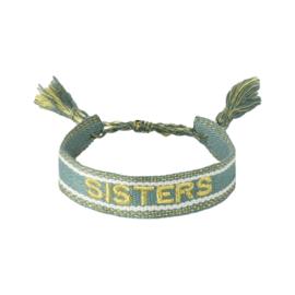 Geweven armbandje 'SISTERS' in groen/goud