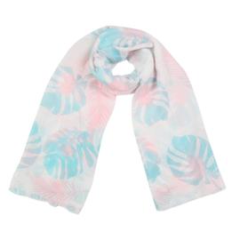 Sjaal met bladprint in wit/turquoise/roos