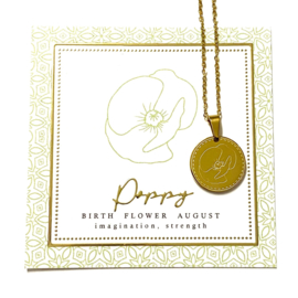 Stainless steel halsketting in goud | Birth Flower | AUGUSTUS