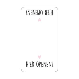 Sticker 'Hier openen!' | 10 stuks