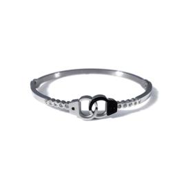 Stainless steel bangle in zilver/zwart | Friends