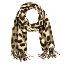Zachte wintersjaal met luipaardprint  in taupe/bruin