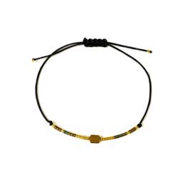 Armbandje met koord en miyukikraaltjes | Gold B