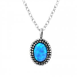 925 zilver halsketting | Beautiful Blue Oval