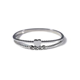 Stainless steel bangle in zilver | Heart & Diamonds