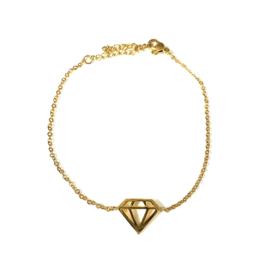 Stainless steel armbandje in goud | Diamant