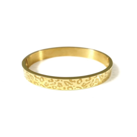 Stainless steel bangle in goud | Leopard Big