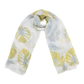 Sjaal met bladprint in wit/geel/jeansblauw