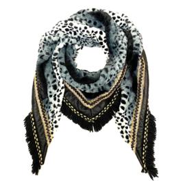Superzachte driehoeksjaal met luipaardprintje in zwart/wit/grijs