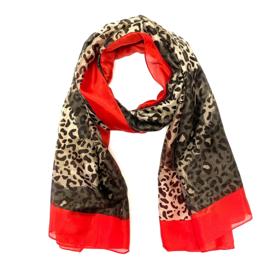Dun sjaaltje met luipaardprint in bruin/rood