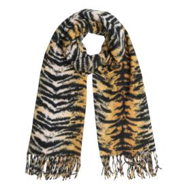 Zachte wintersjaal met zebraprint oker/zwart