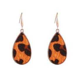 Oorbellen 'Leopard' in goud/oranje/zwart
