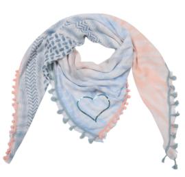 Sjaal met 4 prints in lichtblauw/lichtroos