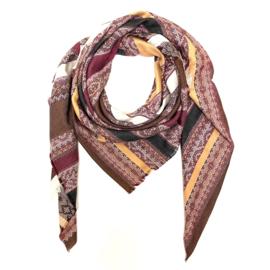 Sjaal met streep in aubergine/camel