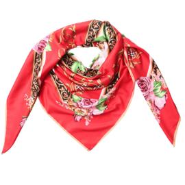 Sjaal met rozenprint in rood